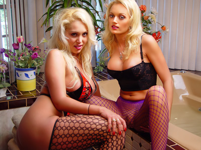Decadent Divas 17 Busty Blondes Strapon Fucking In Bathroom p1 Big tits blonde girls in fishnet stockings ready for lesbian sex