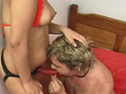 Chubby strapon babe pumping guy`s ass
